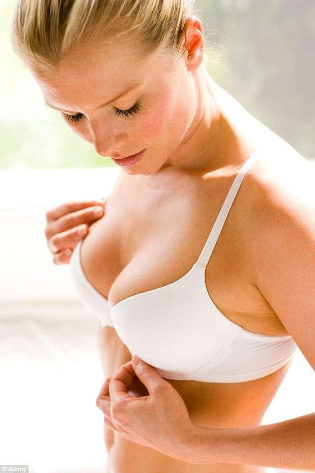 woman measuring bra size